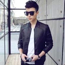 Youth personality motorcycle spring thin leather jacket