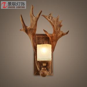 复古创意树脂鹿角壁灯客厅床头卧室个性装饰鹿头过道灯美式灯具壁灯