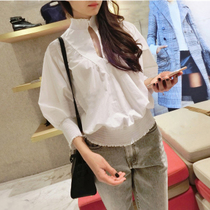 French purchase of genuine maje 17 spring summer sweet neck bat sleeve blouse with black fungus LIBOU Gianna June