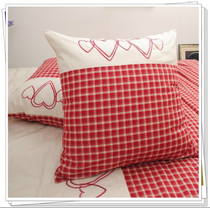Foreign cotton bedding cotton super soft yarn-dyed red heart Embroidered Pillow hug pillowcase 55-65CM