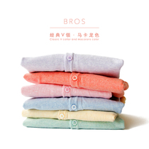 Uncle cotton childrens clothing childrens spring knit Cardigan Sweater boys and girls v-neck Cardigan thin sweater air-conditioner shirts