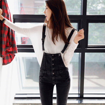 Spring and autumn dark gray stretch skinny jeans Korean trousers