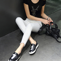 Hole in the Korean version of elastic thin tight black 9 skinny jeans