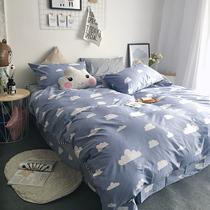 Four sets cotton cartoon simplicity of pure cotton bed linen double 1.8M bed 1.5 m dorm bedding package
