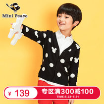 300-100]minipeace peacebird kids boys cartoon Cardigan Sweater black spring