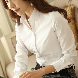 女士打底白色衬衫女长袖韩版修身职业女装韩范白衬衣大码学生秋装长袖衬衫