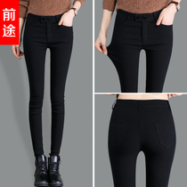 Spring in autumn and winter plus down thick black footless tights