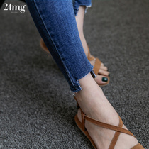 Spring and summer of slim hole in the Korean version of the elastic waist jeans