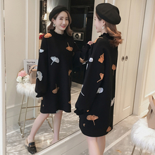 Maternity dress, autumn winter wear, 2018 new winter dresses, long, loose, fashionable fashion embroidered collar dress.