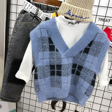Boy's sweater Pullover autumn and winter baby mink Plaid knit vest children's little boy's westernized coat