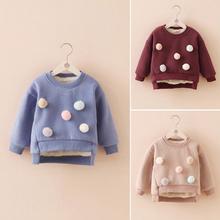 Zhou dada children's winter girl's top plus plush and thickened warm sweater Korean Pullover baby fashion