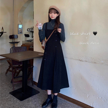 Autumn and winter new high waist show thin French corduroy double breasted belt skirt