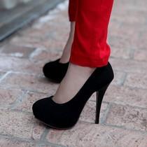 性感 黑色/夜店12厘米CM性感黑色高跟鞋情趣CL红底细跟单鞋职业防水台女