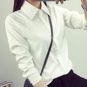 秋冬新款加绒白色衬衫女长袖职业宽松百搭韩范ol职业装衬衣女学生长袖衬衫女