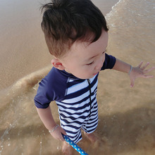Korean baby baby swimsuit, men's swimming trunks, striped speed boy, baby sunscreen, sunscreen swimsuit and hat.
