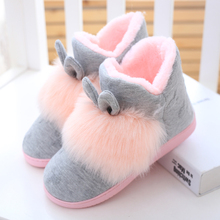 Autumn, winter, velvet, lovely household cotton slippers, thickened bottom, warmth, high cotton boots, women's bags and indoor antiskid soft bottom.