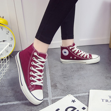2019ins high top wine red wind board canvas shoes
