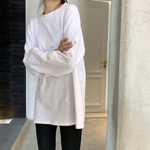 White autumn and winter new long sleeves with Korean round neck bottoming shirt
