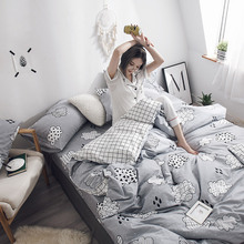 Mengfu cotton sheet and quilt cover 100% cotton bed sheet and pillow cover can be combined into 4-piece set for students' dormitory double 1.5m3