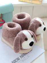 Winter cotton slippers, girls'shoes, cute cartoon dogs, home warmth, baby cotton shoes, boys' slippery