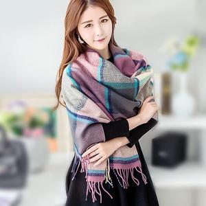 上海故事披肩围巾两用女秋冬季长款大韩版百搭格子仿羊绒羊毛保暖围巾