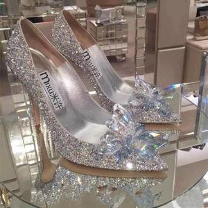 水晶鞋婚鞋高跟新娘婚纱鞋白色伴娘鞋灰姑娘水钻婚礼单鞋女结婚鞋高跟鞋