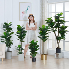 Nordic imitation banyan potted plant interior decoration green planting large bonsai false flowers ins living room decoration