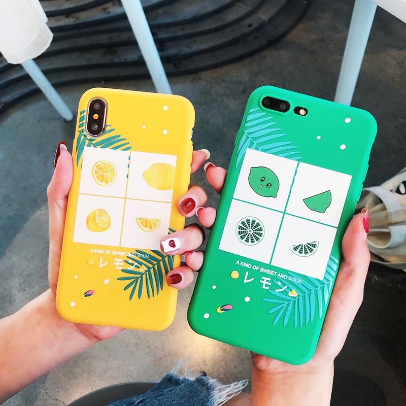 夏日小清新水果柠檬iphoneX苹果8plus手机壳7plus防摔软壳女6plus