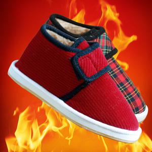 居家棉拖鞋女加绒保暖鞋 老棉鞋手工包跟冬季防滑 妈妈鞋子 冬棉拖鞋