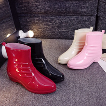 New Fashion Rainshoes Short Cylinder Rubber Rainshoes Low-Up Water Shoes Skid-proof and Warm Students