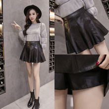 Black high waisted skirt with thin buttocks in autumn and winter