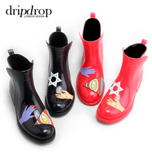 Short-tube adult fashion hand-painted autumn and winter rainshoes