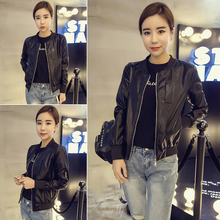 Outerwear female spring and autumn students Korean fashion short PU leather outerwear jacket cardigan baseball suit women's versatile motorcycle suit