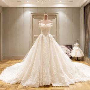 长拖尾婚纱礼服2017新款春季新娘结婚婚礼一字肩奢华宫廷公主显瘦婚纱