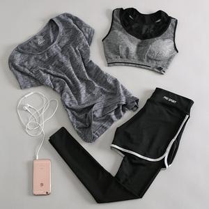 秋冬瑜伽服运动套装健身服女三件套速干衣健身房跑步短袖假两件裤瑜伽服