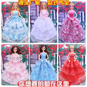 换装芭芘比娃娃衣服婚纱裙子时装大裙子古装娃娃套装服饰多款可选芭比娃娃婚纱