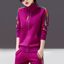 Sports suit spring and autumn 2018 new wave Korean Edition big code leisure two sets of autumn winter velvet fashion sportswear