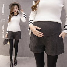 Pregnant women's winter Shorts New Wool Pants skirt in autumn and winter 2019 fashionable belly boots pants wear large wide leg pants outside