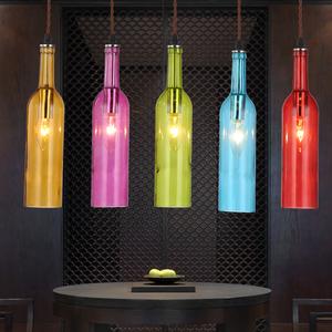 个性创意LED吊灯饰具彩色酒瓶酒吧吧台吊灯饰玻璃 餐厅装饰吊灯酒瓶吊灯