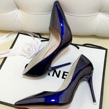Nude pointed thin heel work patent leather high heels
