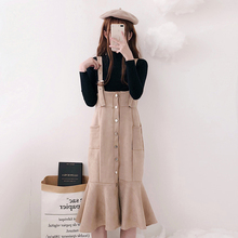 Autumn and winter students' half high collar knitted fishtail back belt skirt