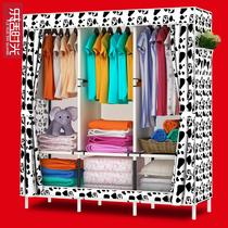 乐活衣柜 简易布衣柜防尘拆装折叠组合布艺收纳衣橱加粗钢架铁艺