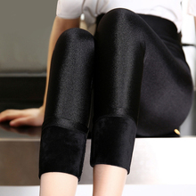 Autumn and winter plush, thickened and glossy pants, high waist, large size, waist protecting and foot stepping pants
