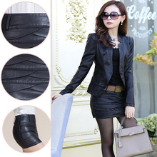 New Black PU leather jacket Korean leather jacket