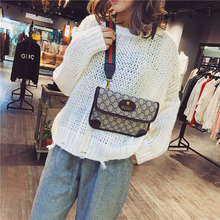 Messenger bag women's 2019 new fashion chest bag ins super hot all-around printed one shoulder wide band envelope small square bag