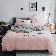 Moonlight home textiles, Korean version, pink girl's heart quilt, four sets of cotton, water washed cotton, letter embroidery bed, pure cotton.