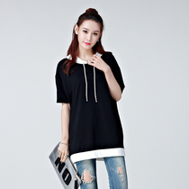 Summer Hoodie size mm weight loose fat sister Korean t-shirt