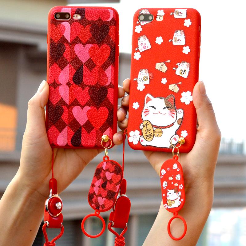 iphone6苹果8手机壳7保护套Plus招财猫i女款P软壳6s吊牌sP红爱心X
