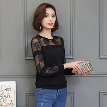 2017 fashion fall winter new bottoming shirt women long sleeves mesh Lace Sweater short spring and autumn perspective relaxed shirt