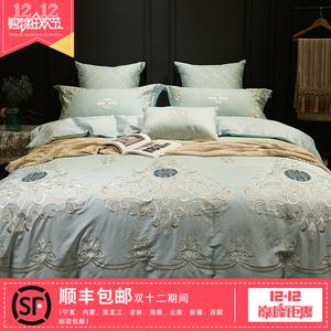 清仓欧式床上用品贡缎长绒棉美式全棉四件套1.8m床纯棉刺绣被套YF四件套